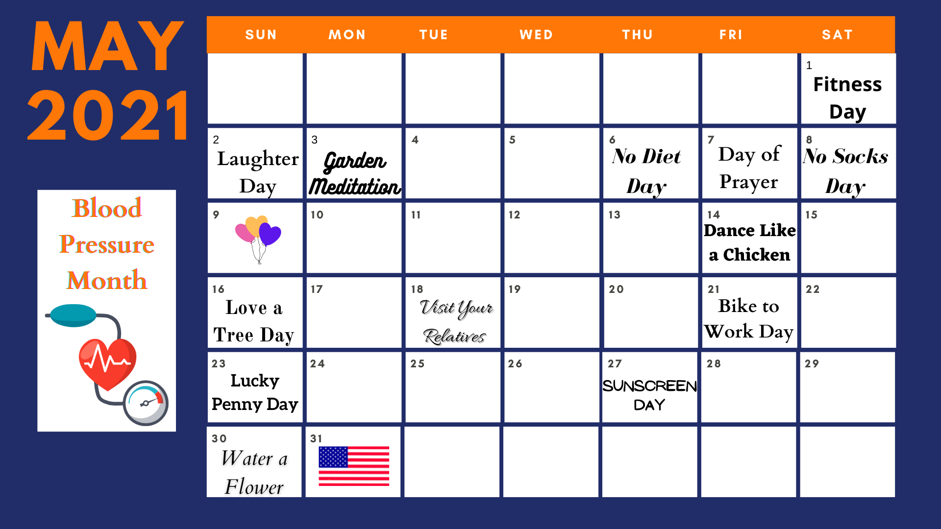 Navy Blue Oranges Squares Weekly Calendar